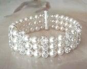 Pearl bracelet ~ Pearl Cuff Bracelet ~ 3 strand ~ Wedding bracelet ~ Swarovski pearls and crystals ~ Brides bracelet ~ Chunky Pearl bracelet