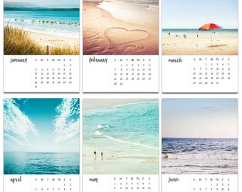 2017 calendar beach photography calendar 4x6 5x7 ocean themed calendar mini desk calendar with easel nautical decor ocean photography teal