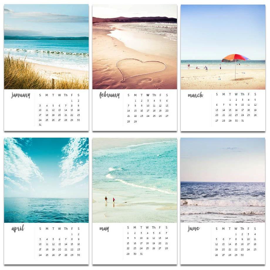 2018 Calendar Beach Photography Calendar 4x6 5x7 Ocean Themed