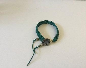 Bracelet, Leather Cord, Knotted Bracelet, Southwest Thunderbird Bracelet,Aqua Leather Bracelet,Knotted Bracelet