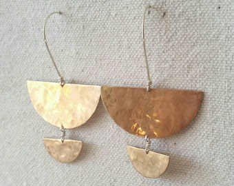 Rumi . Hammered Peachy Bronze and Sterling Silver Geometric Drop Earrings