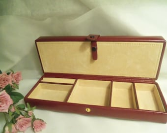 Handy Men's Women's Vintage NEVER USED Red Burgundy Genuine LEATHER Jewelry Travel Case Box- Birthday Gift Mom Her Him Dad Father Teen Bride