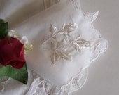 Brides Handkerchief White Roses Wedding Hanky Vintage - Something Old Bridal Shower Gift Wedding Keepsake