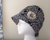 Chemo Hat Cloche Style Cotton Print in Black and Beige for Women satin lined lace flower accent Ready to Ship