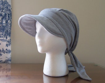 Baseball Style Chemotherapy Cap with Ties in Gray Knit for Women Chemo Patient Gift Ready to Ship Donation Made to Cancer Society