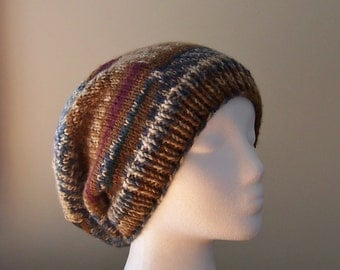 Slouchy Beanie Women's Hand Knit Hat Earthy Colors of Brown, Tan, and Blue Hand Knit Swirled Design Fall Winter Accessory