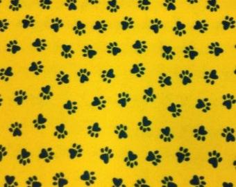 Yellow Paw Print Fleece Fabric by the yard