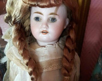 Antique French silk floss hair wig for doll w hair braids, numbered doll wig, unused condition, early 1900s doll's wig for doll making etc