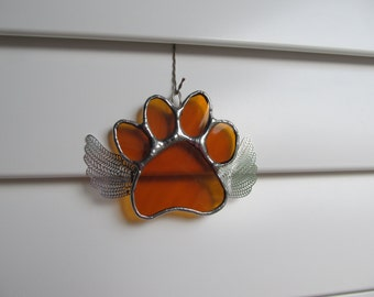 "Stained Glass Angel Paw Print ""Paws To Remember"" -Amber Water Glass -Memorial Marker - Personalized Hand Stamped Tag Available"