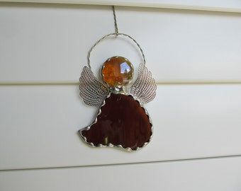 Stained Glass Angel Amber Water Glass with Amber Glass Gem Head -  Ornament/Suncatcher - Personalized Hand Stamped Aluminum Tags Available
