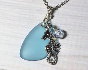 Aquamarine Sea Glass Seahorse Women's Necklace Beach Jewelry Mom Girlfriend Friend Sister