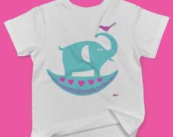 Rocking elephant with pink and purple bird childrens' organic cotton t shirt