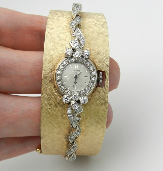 Antique Vintage 14K Yellow White Gold Diamond ELGIN Ladies Bangle Watch