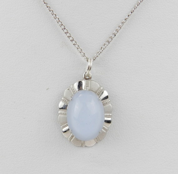 """Sterling Silver Moonstone Necklace Pendant Chain 22"""""""