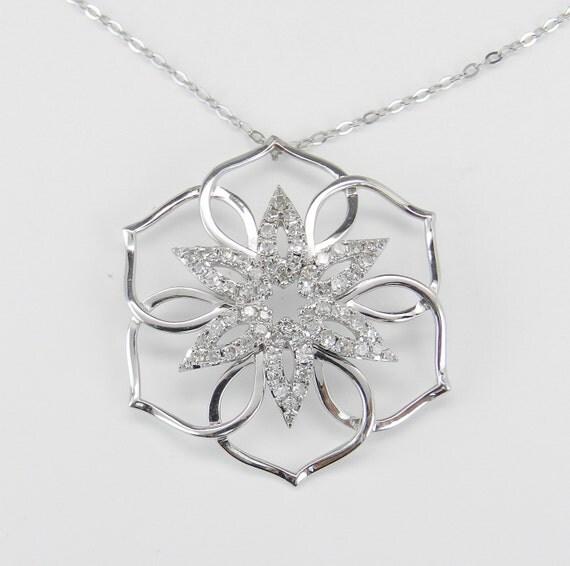 "Diamond Cluster Pendant 14K White Gold Snowflake Flower Star Necklace Chain 18"""