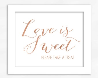 Love Is Sweet Candy Buffet Print in Copper Foil Look - Faux Metallic Calligraphy Wedding Reception Sign for Favors or Dessert Table (4002)