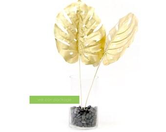 Gold Tropical Leaf - Metallic Gold Foliage - Home Decor