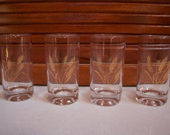Vntg Golden Wheat Small Juice Glasses Libby Set of 4