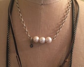Large Pear Choker and Diamond Necklace, Sterling Silver Rolo Chain , Sundance Style Rustic Jewelry