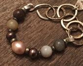 Multi Gemstone Hand forged chain link, fine silver charm, Rustic Jewelry, Raw Gemstone Bracelet Sundance Style
