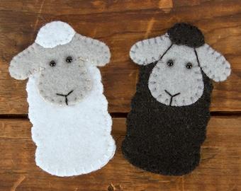 Sheep Hand Sewn Wool Felt Finger Puppet