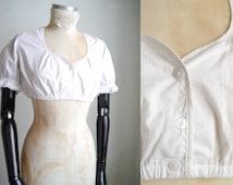 Dirndl Blouse Cropped Large/ Short White Cotton Lingerie Corset Blouse Folk lingerie  Regency Pirate Gypsy Victorian Oktoberfest/ XLL