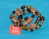 SPECIAL SALE-Chunky Amber, Topaz, Black Beads, Amber Lampwork, Copper Fluted & Scribed Spacers on Spring Wire Bracelet - Fits Any Wrist - R