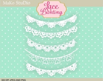 Lace Bunting clipart, digital bunting clip art, Lace banner clip art, Personal or Commercial Use