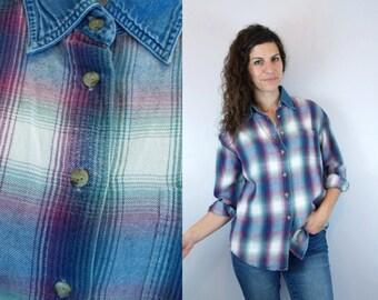 1990s Vintage Grunge Flannel Blue & Pink Plaid Button-Down Long Sleeve Oxford Blouse with Denim Blue Jean Trim at Collar / Medium Large M L