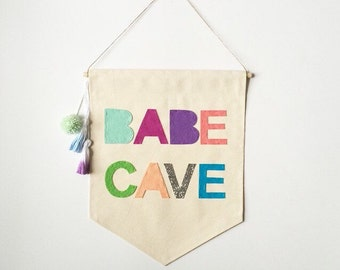 Babe Cave Wall Banner - 19 x 13in - Canvas Banner Wall hanging
