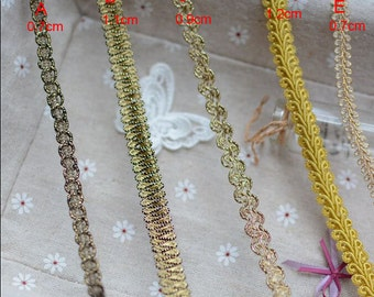 30 meter 0.7-1.2cm wide gold braided dress tapes lace trim ribbon 23176 free ship