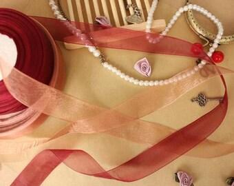 "15 meter 2.5cm 0.98"" wide orange/wine red tulle gauze lace trim ribbon tapes 11137 free ship"