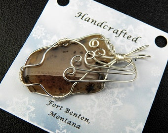Wire Wrapped Stone Pendant -Wire - Wrapped Pendant -Wire Wrapped Montana Agate Stone Pendant - Stone Jewelry - Handmade Montana USA