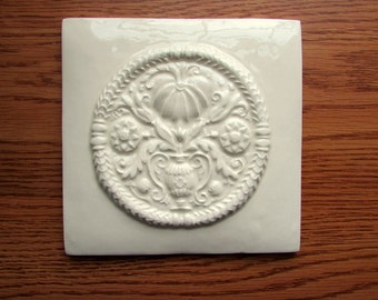 6x6 ButterMold Ceramic Accent Tile -- Decorative tile in Ivory Belleek glaze, floral, READY TO SHIP