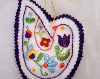Peace Dove Ornament - Hand Embroidered  OOAK