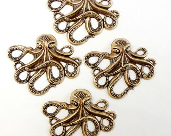 Brass Octopus, Octopus Stampings, Sea Creatures, Art Deco, Brass Ox, Antique Brass, 53 x 63mm, US Made, Nickel Free Finish, Item04984