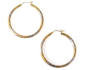 Two Tone Two Textures Large 14k Gold Hoop Earrings