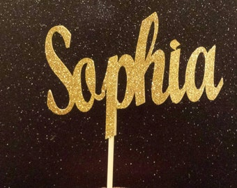 Personalized Custom Name Glitter cake topper Lots of color choices