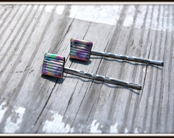 Dichroic Glass Hair Pins, Fused Glass Bobby Pins, Fused Glass Hair Pins, Bobby Pins, Multi Color Glass Hair Pins, Hair Accessories