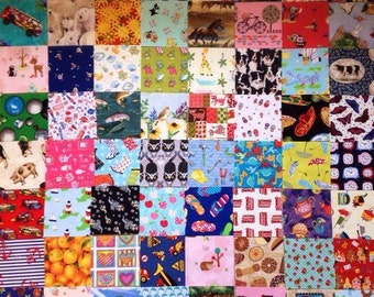 """Patchwork Fabric Charm Square Pack - I Spy Quilt Novelty Cotton Baby Child 64 x 5"""" FREE UK POSTAGE"""