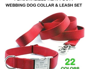 WINTER SALE 15% off HEAVY Duty Personalized Webbing Dog Collar and Adjustable Handle Leash Set