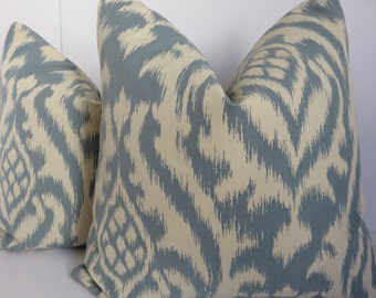 Ikat Pillow Cover - Decorative Pillow -Pillow - Aqua Pillow Cover - Beige Pillow Cover - Natural Pillow Cover -18x18-20x20