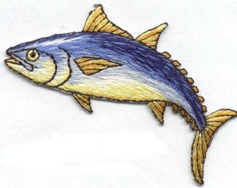 fish natural iron on applique