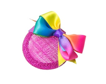 Rainbow Ombre Bow Micro Fascinator