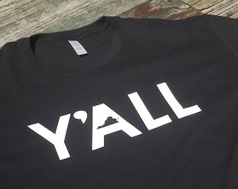 Y'all Virginia Shirt in Black - Virginia Y'all Men's T-Shirt - Virginia Shirt - Simply Southern Men's Short Sleeved Top - Southern Shirt