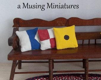 Custom Maritime Signal Flag Pillows in 1:12 Scale for Dollhouse Miniature Naval or Beach Decor