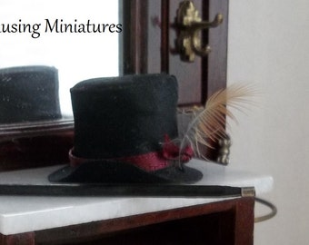 Tophat with Burgundy in 1:12  Scale for Dollhouse Gentleman or Breyer Classic Model Horse Rider
