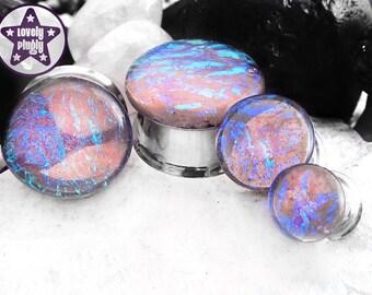 "Blackcurrant Sherbet Dichroic Plug / Gauge Blue Purple Teal Faux Dichro Iridescent Translucent 2g, 0g, 00g, 7/16"" / 6mm, 8mm, 10mm, 11mm"