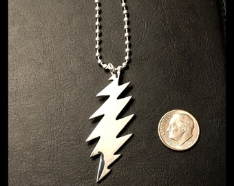 13 point Grateful Dead lightning bolt necklace pendant on a link chain