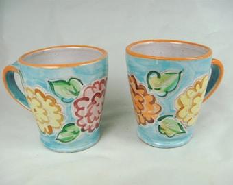 Turquoise Zinnia Mugs